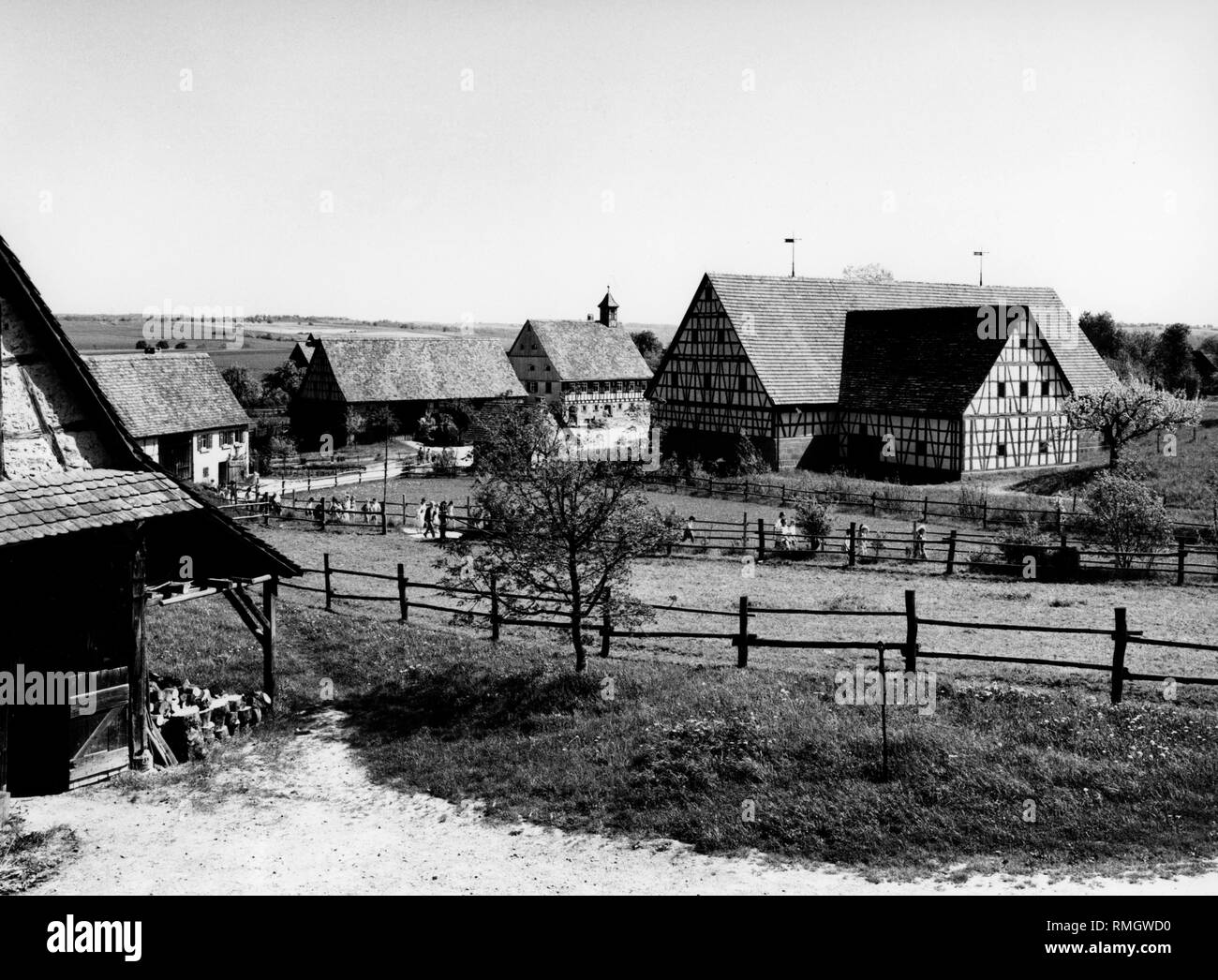 View on the open- air- museum village Wackershofen. Undated picture. - Stock Image