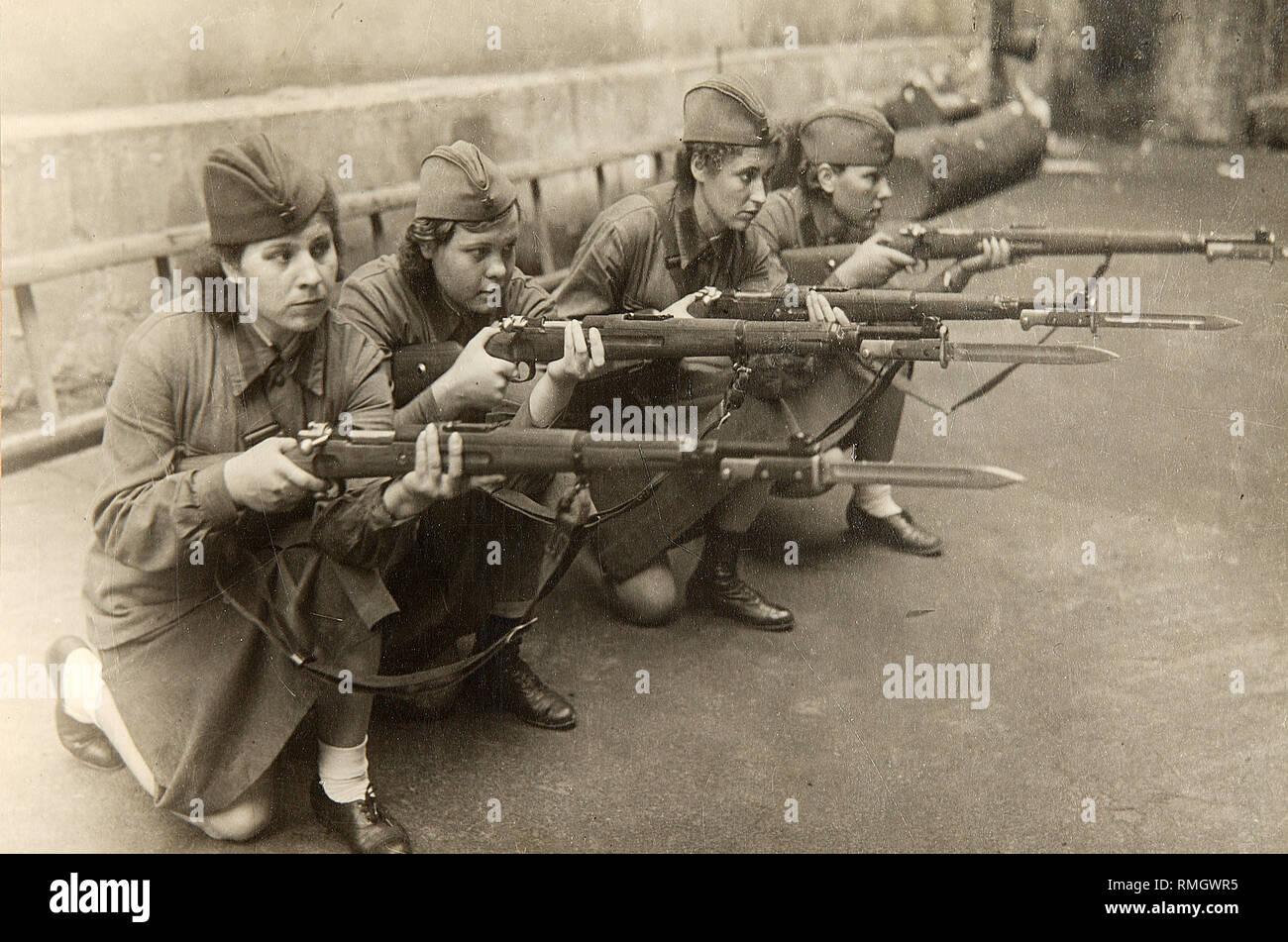 Great Patriotic War. Women Military Training. Photograph - Stock Image