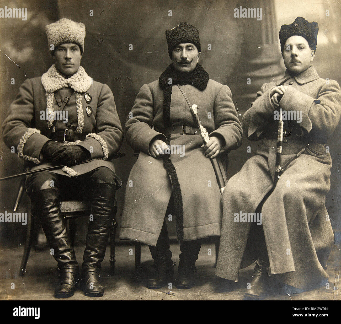 Civil War. Commandants Semyon Timoshenko, Semyon Budyonny and Kliment Voroshilov. Photograph Stock Photo