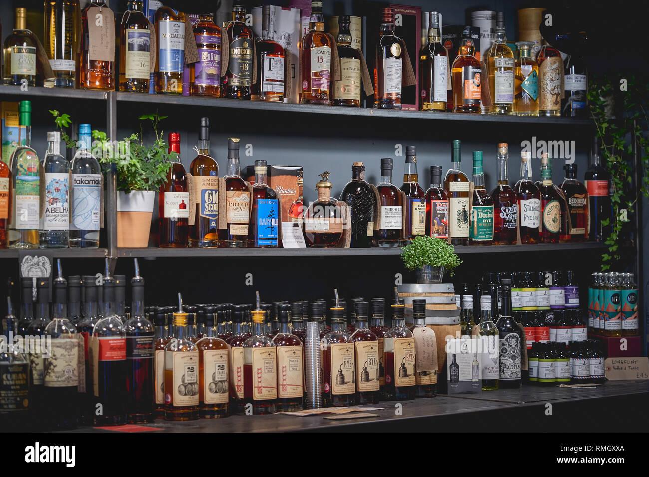 London Uk June 2018 Shelves Full Of Liquor Bottles On