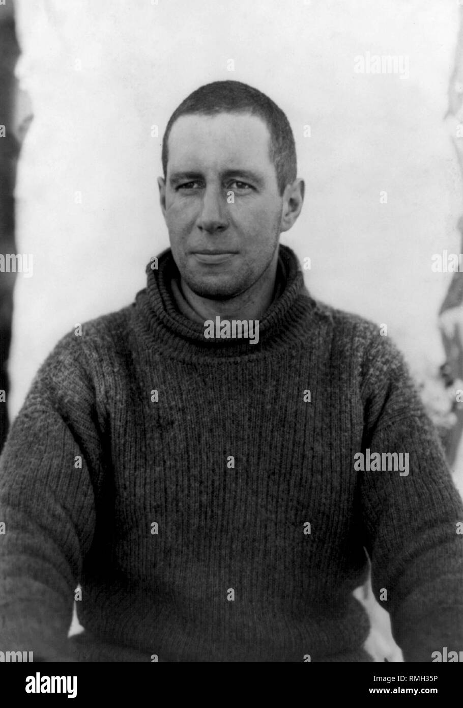 captain lawrence e.g. oates part of the Terra Nova expedition during the British Antarctic Expedition to Antarctica  Photo taken 1910 - Stock Image