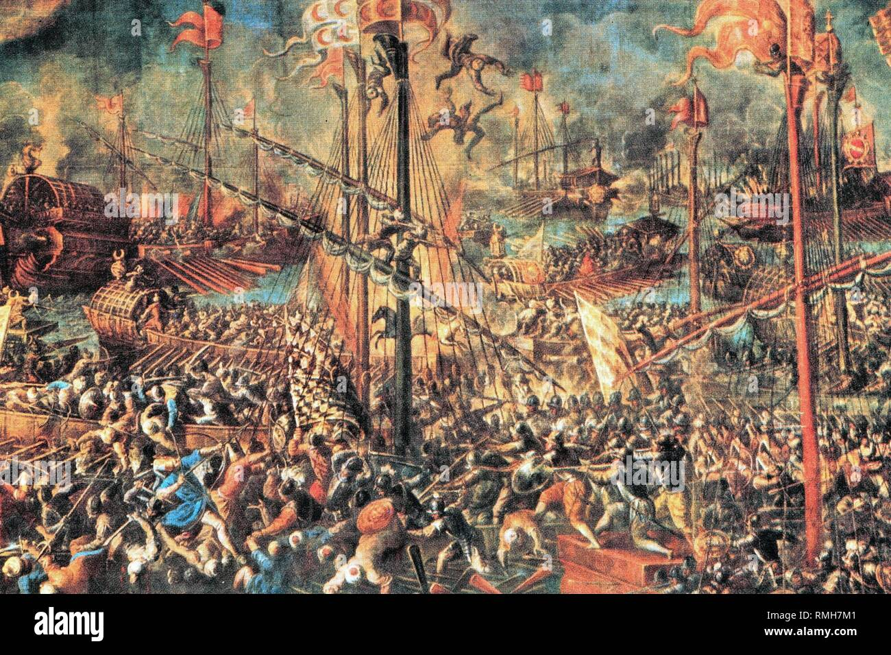 Illustration of the Battle of Lepanto.The fleet of Spain, Venice and of the Pope completely defeated the Turkish fleet in a crash on October 7, 1571, under the leadership of Don Juan d' Austria in the Gulf of Lepanto off the Greek coast. - Stock Image