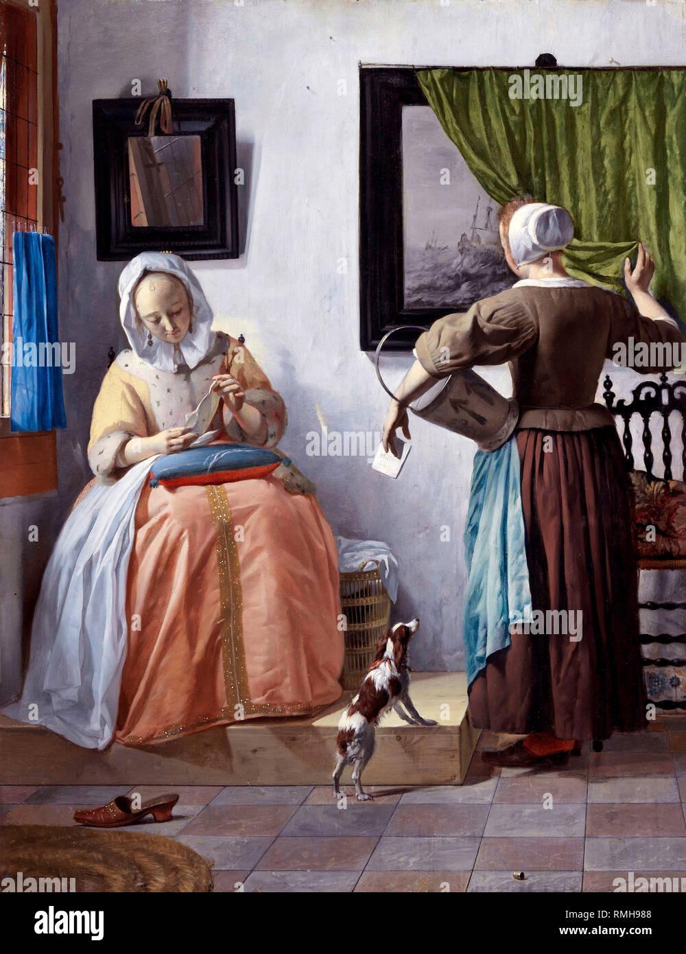 Woman Reading a Letter by Gabriël Metsu - Stock Image