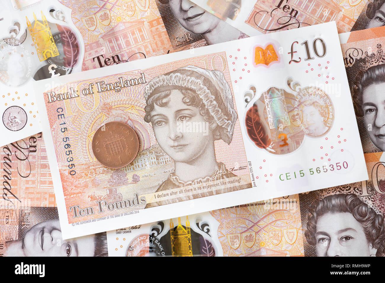 Jane Austen £10 pound note, England, UK. - Stock Image