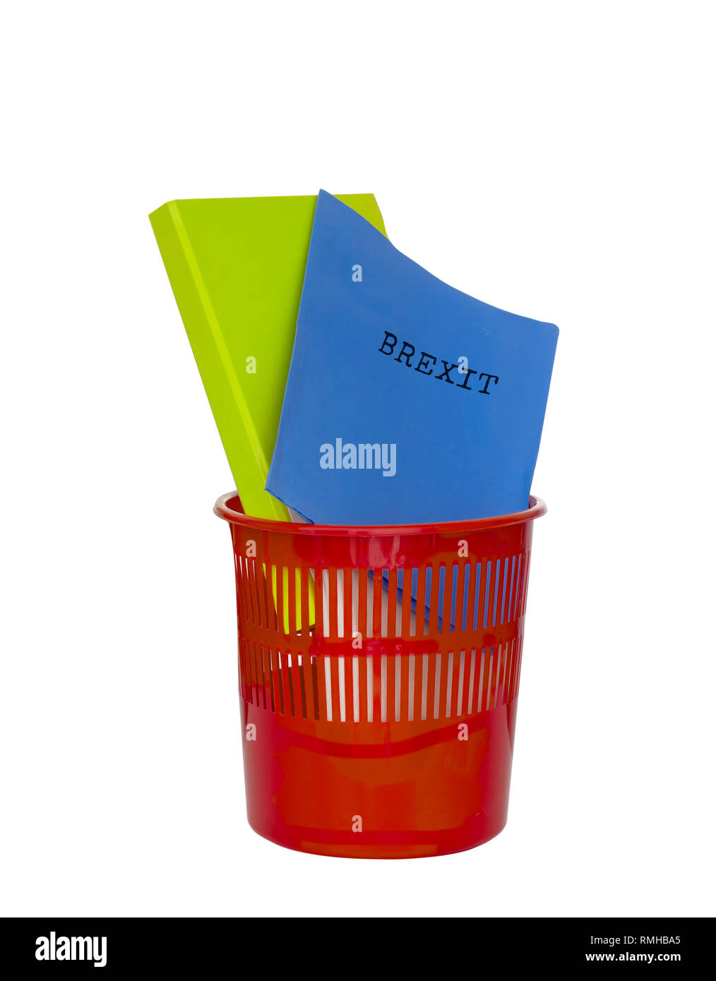 Brexit documents and files in bin. UK EU politics metaphor or concept. Delay or avoid leaving EU. - Stock Image