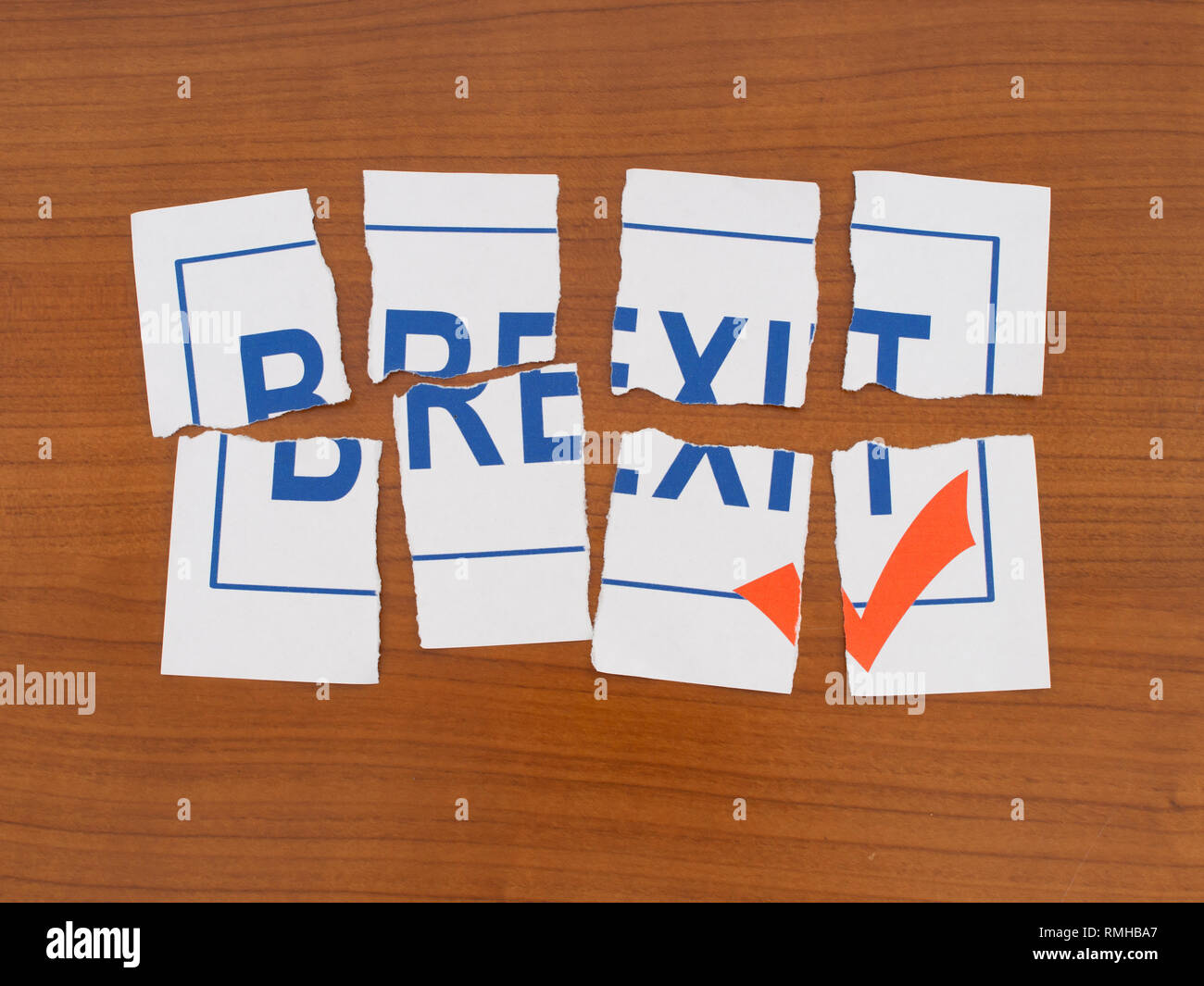 Brexit in shreds, puzzle. UK EU politics metaphor or concept. - Stock Image