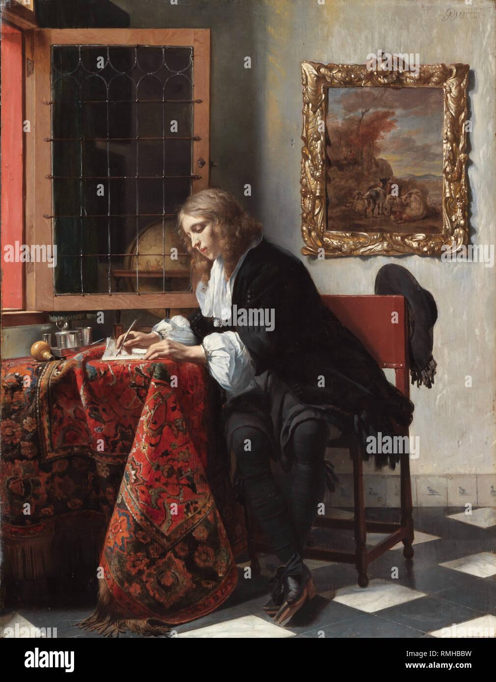 Man writing a letter, by Gabriël Metsu, Man writing a letter, by Gabriël Metsu - Stock Image
