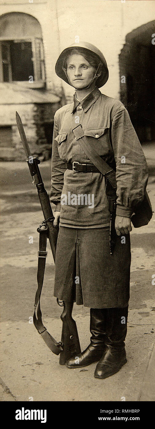 Great Patriotic War. Woman - Warrior of the Red Army. Photograph - Stock Image