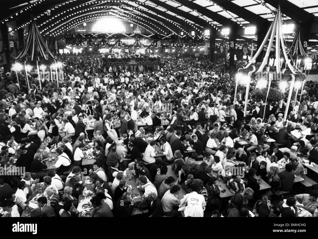 View of the Augustiner Festhalle at the Oktoberfest in Munich. Stock Photo
