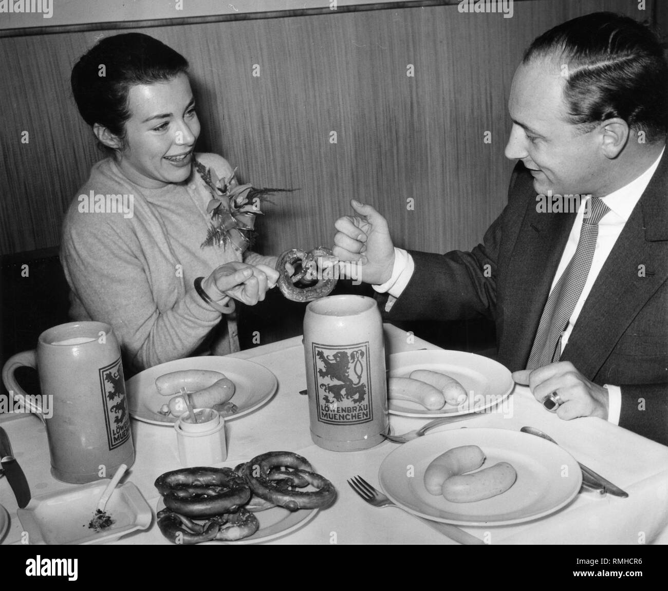 German film actress Marianne Koch at a Weisswurst breakfast. - Stock Image