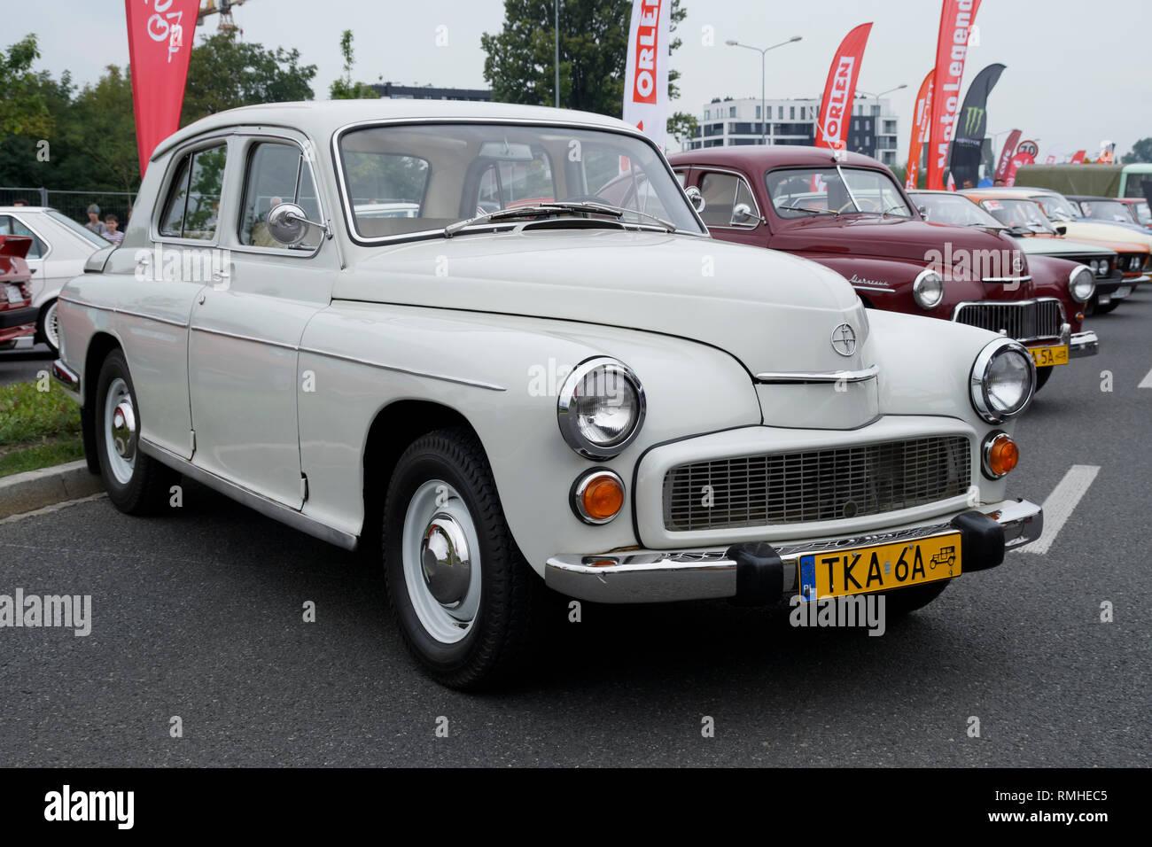 Warszawa car. Oldtimers car at Verva Street Racing on 2018-09-08 in Krakow, Poland. - Stock Image