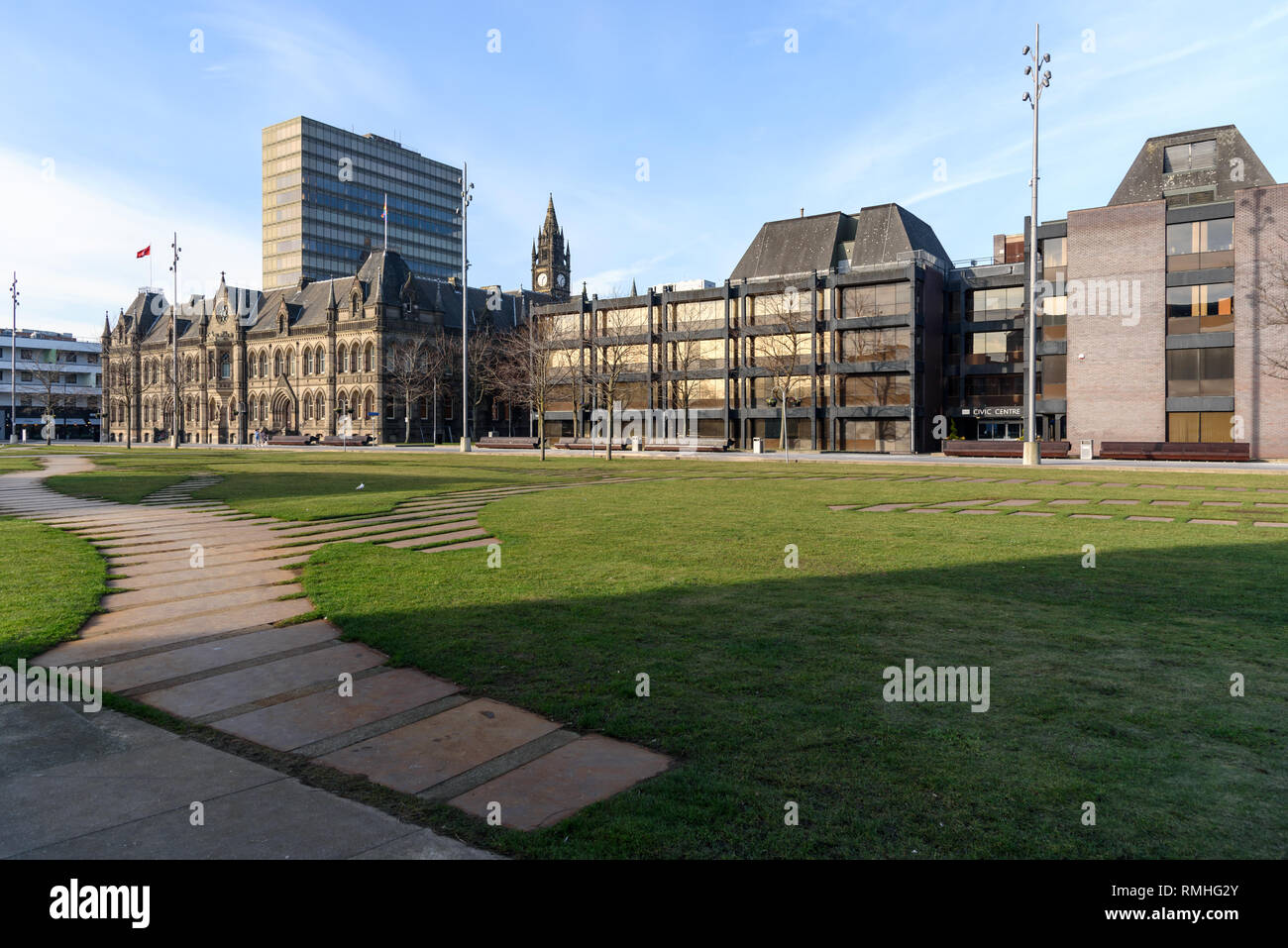 Town Hall and Civic Centre in Central Square Middlesbrough with decorative steel plate pathways set into the grass. - Stock Image