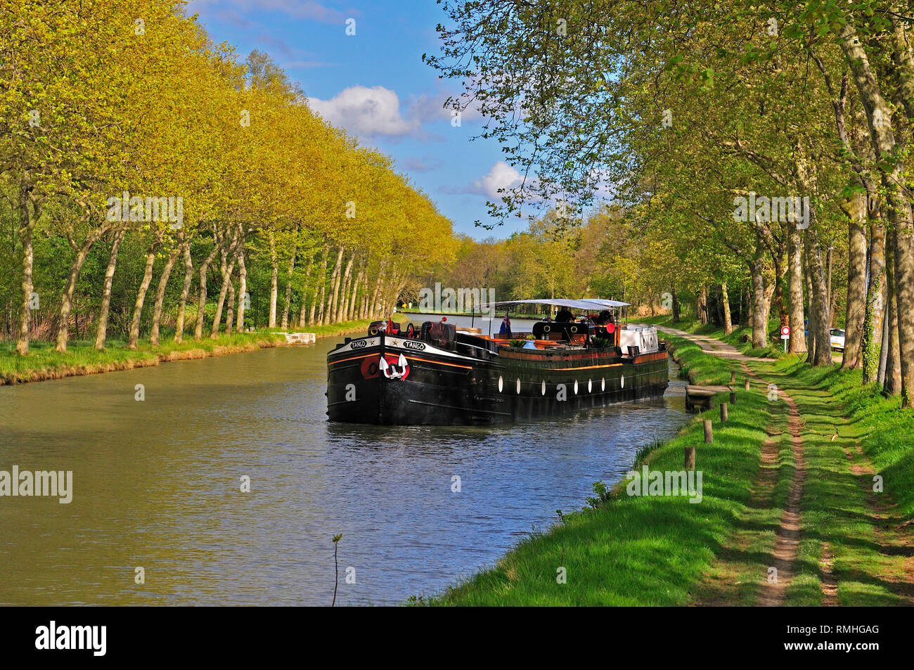 Traditional french barge leaving its mooring on a sunny spring day on the Canal Du Midi  with the trees in full bloom, South of France Stock Photo