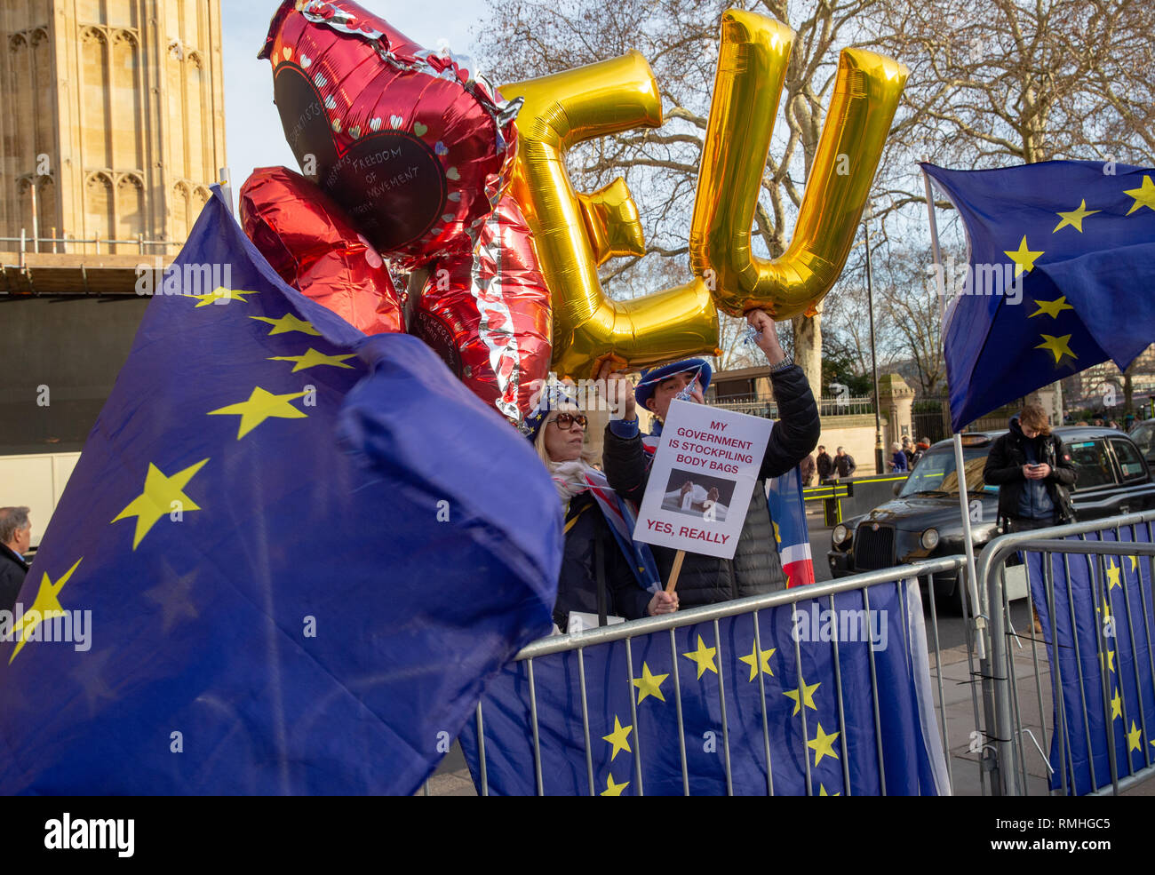 Flags of the European Union and EU helium balloons with Remain supporters demonstrate outside Parliament in support of staying as part of Europe. - Stock Image