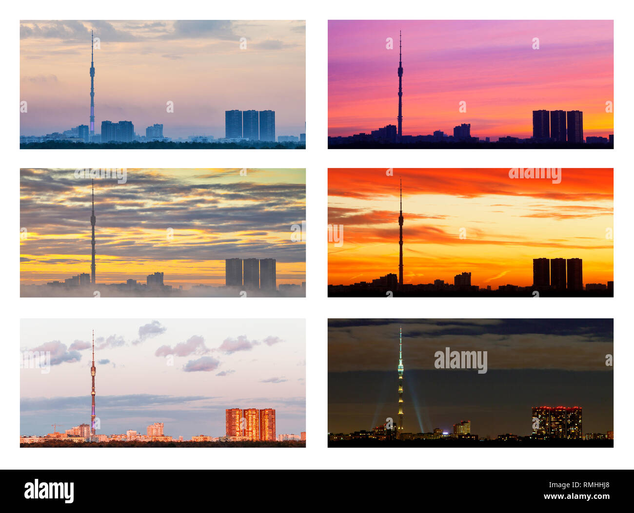 collage from various sunsets and sunrises over city - Stock Image