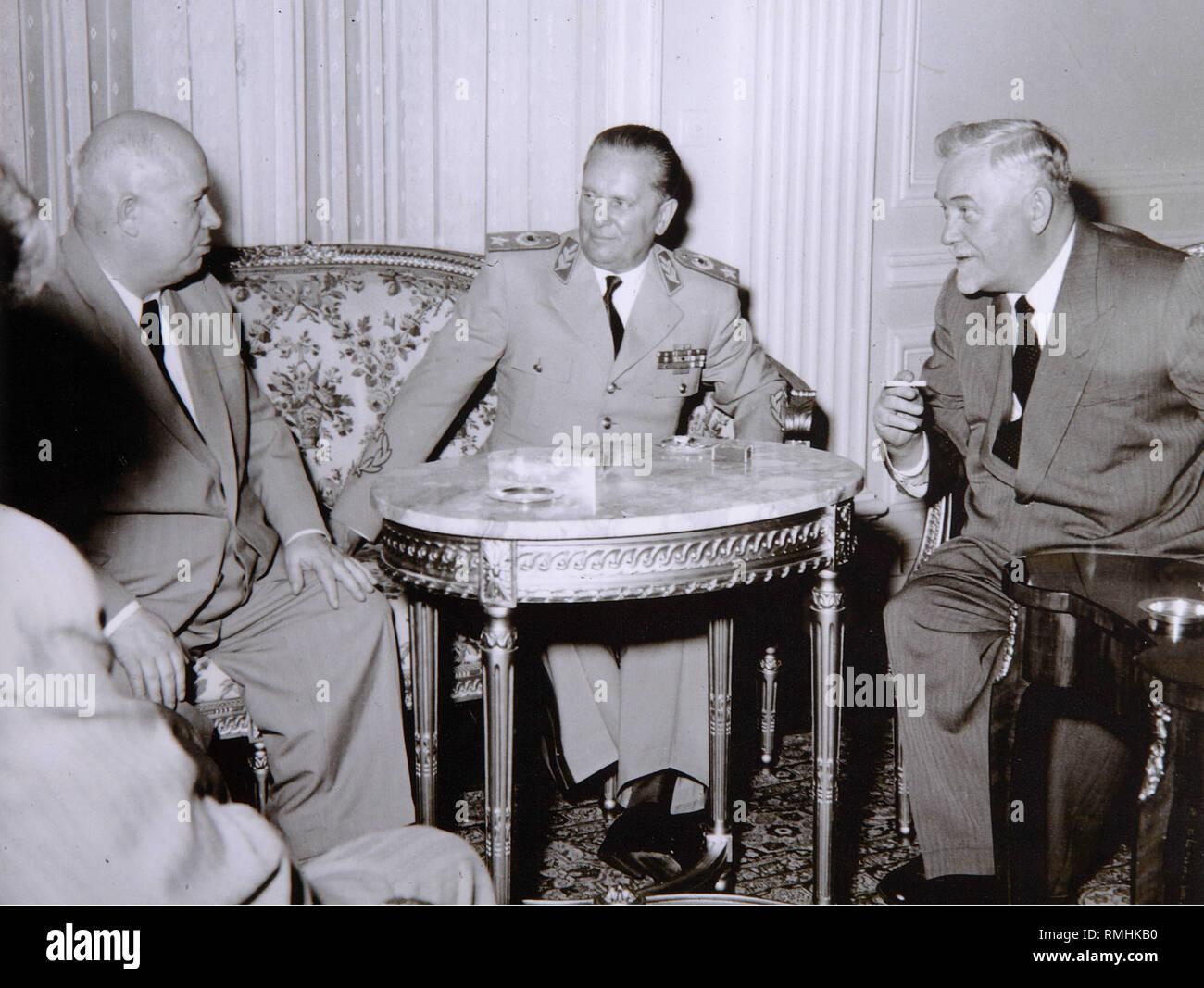 Josip Broz Tito, Nikita Khrushchev and Nikolai Bulganin. Photograph - Stock Image