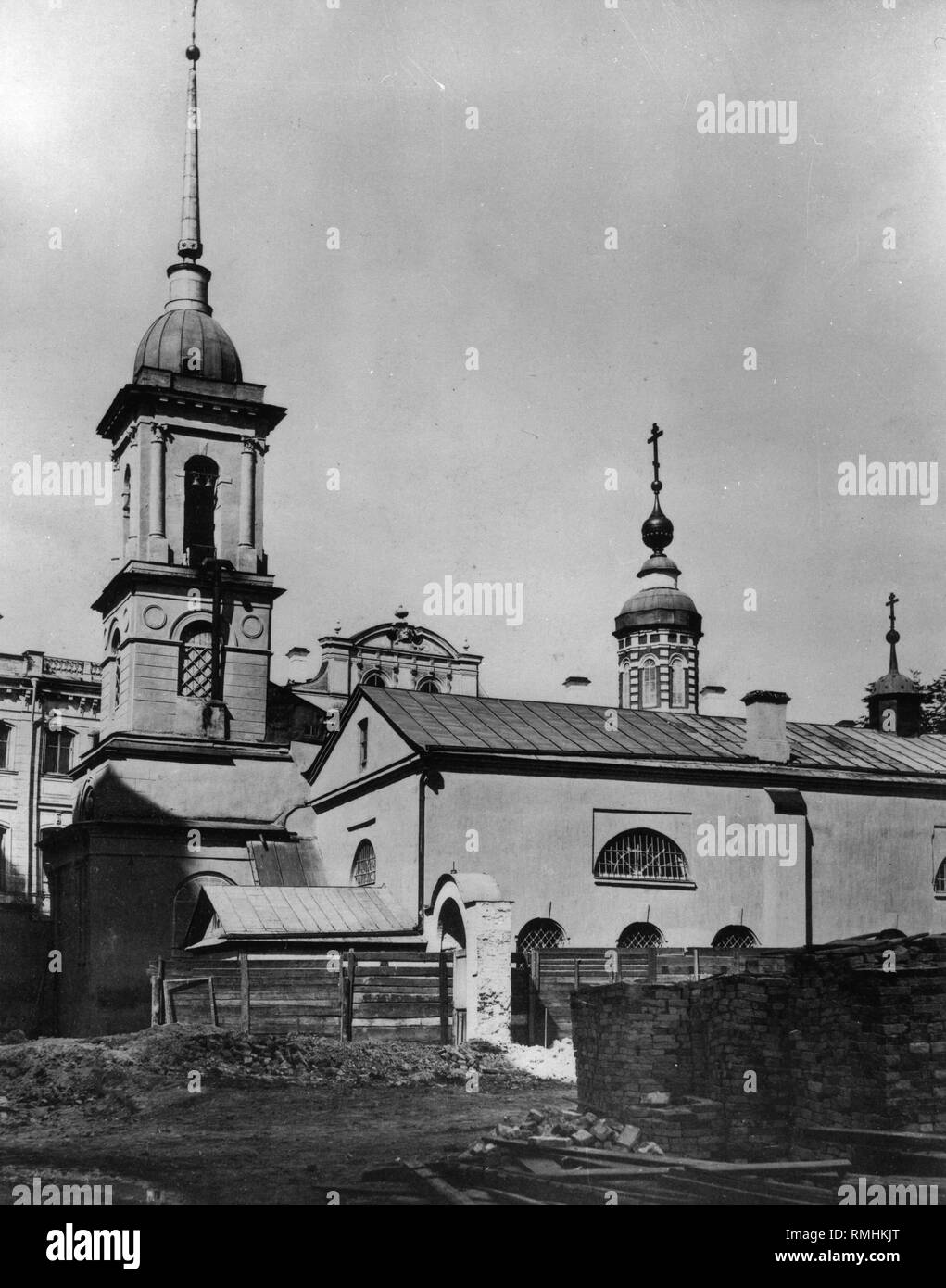 The Church of Holy Martyrs Cosmas und Damian in Moscow. Albumin Photo - Stock Image