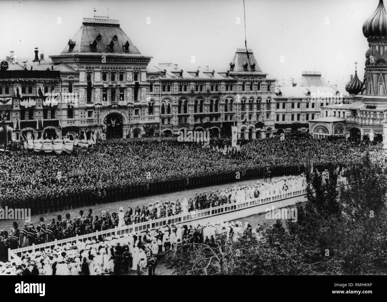 The Crucession with the Tsar's Family at the Red Square. Silver Gelatin Photography Stock Photo