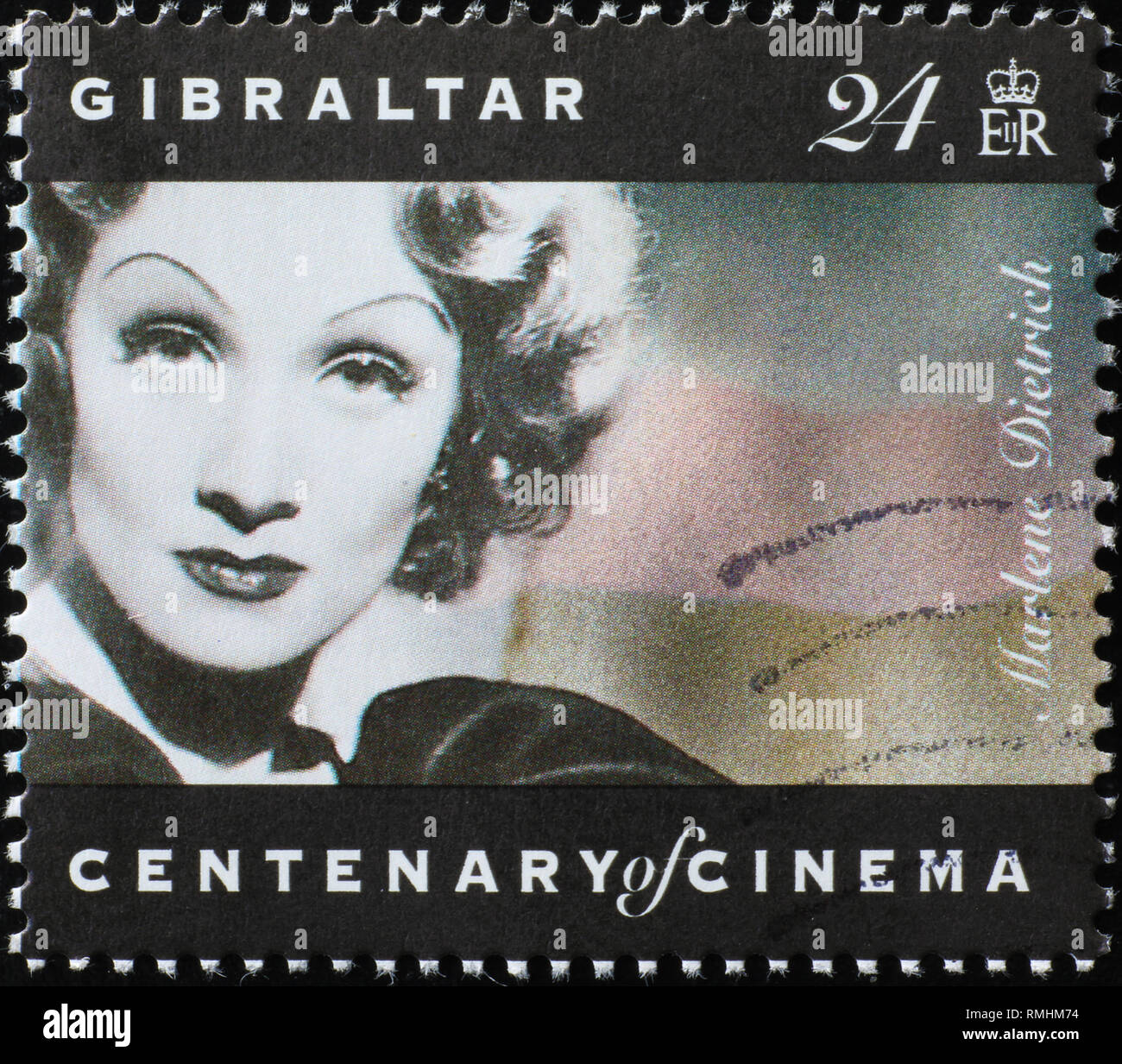 Portrait of Marlene Dietrich on stamp of Gibraltar - Stock Image