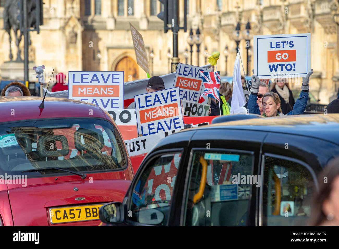 Vote leave supporters demonstrate outside Parliament. They want to leave the EU on March 29th. - Stock Image