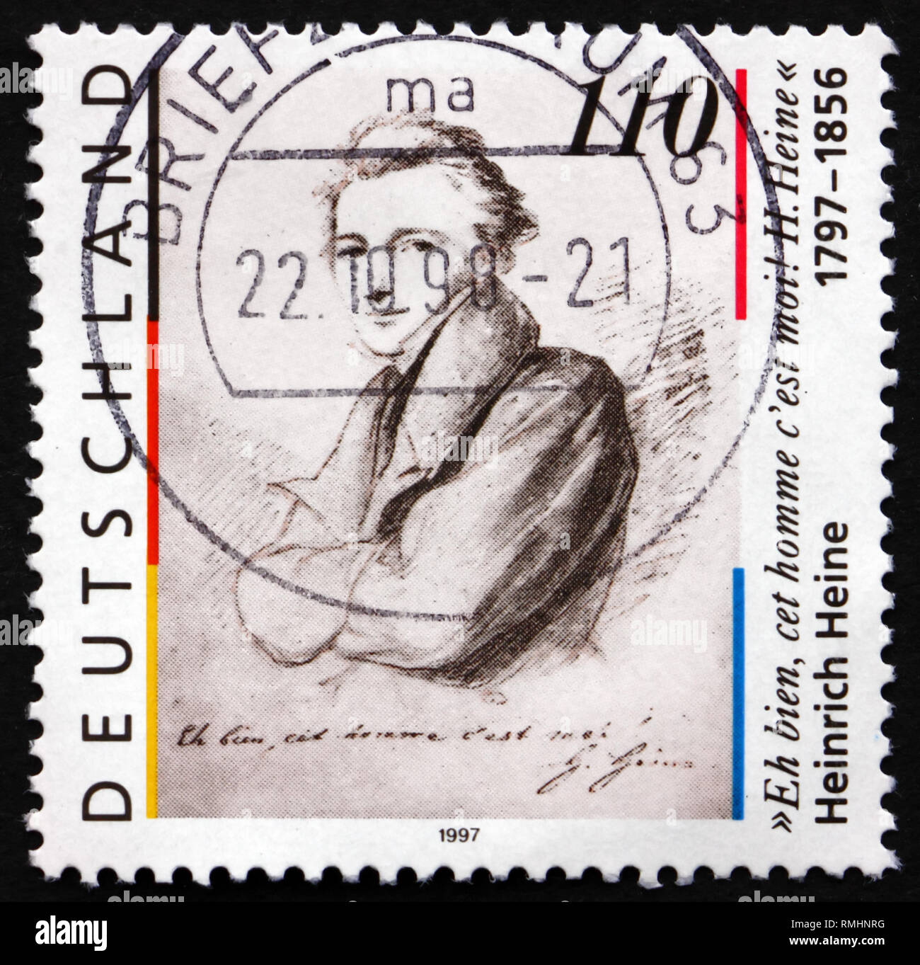 GERMANY - CIRCA 1997: a stamp printed in the Germany shows Heinrich Heine, poet, circa 1997 Stock Photo
