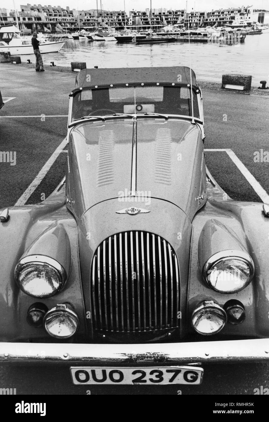A Morgan Plus 8 parked at the marina of St. Tropez. - Stock Image