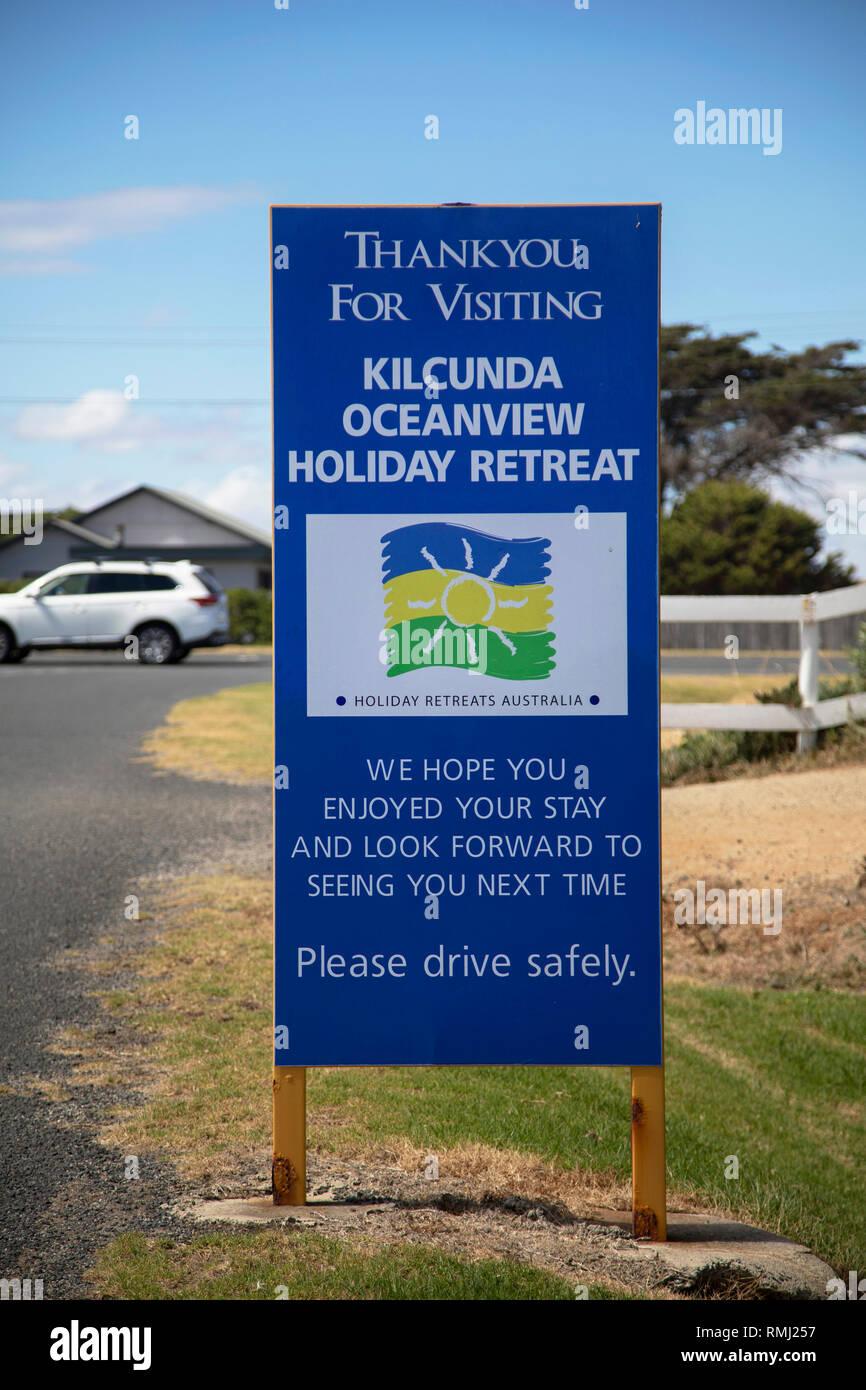 Visiting sign for Kilcunda oceanview retreat, Australia - Stock Image