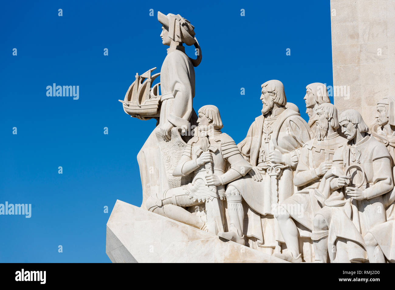 Henry the navigator, king Alfonso V, Vasco da Gama, Pedro Alvarez Cabral and Fernao de Magalhaes on the  Monument to the Discoveries in Lisbon - Stock Image