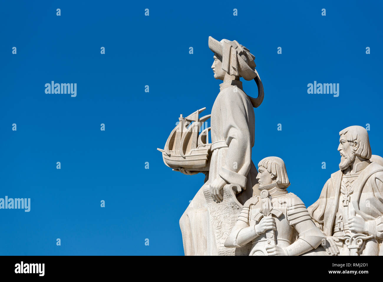 Henry the navigator, King Alfonso V and Vasco da Gama on the  Padrao dos Descobrimentos, Monument to the Discoveries in Belem, Lisbon, Portugal - Stock Image