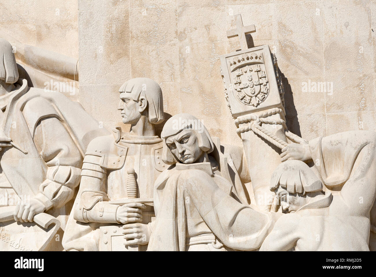 Monument to the Discoveries, Detail showingEstêvão da GamaandAntónio Abreu,Bartolomeu DiasandDiogo Cão raise a marker in Belem, Lisbon, Portugal - Stock Image