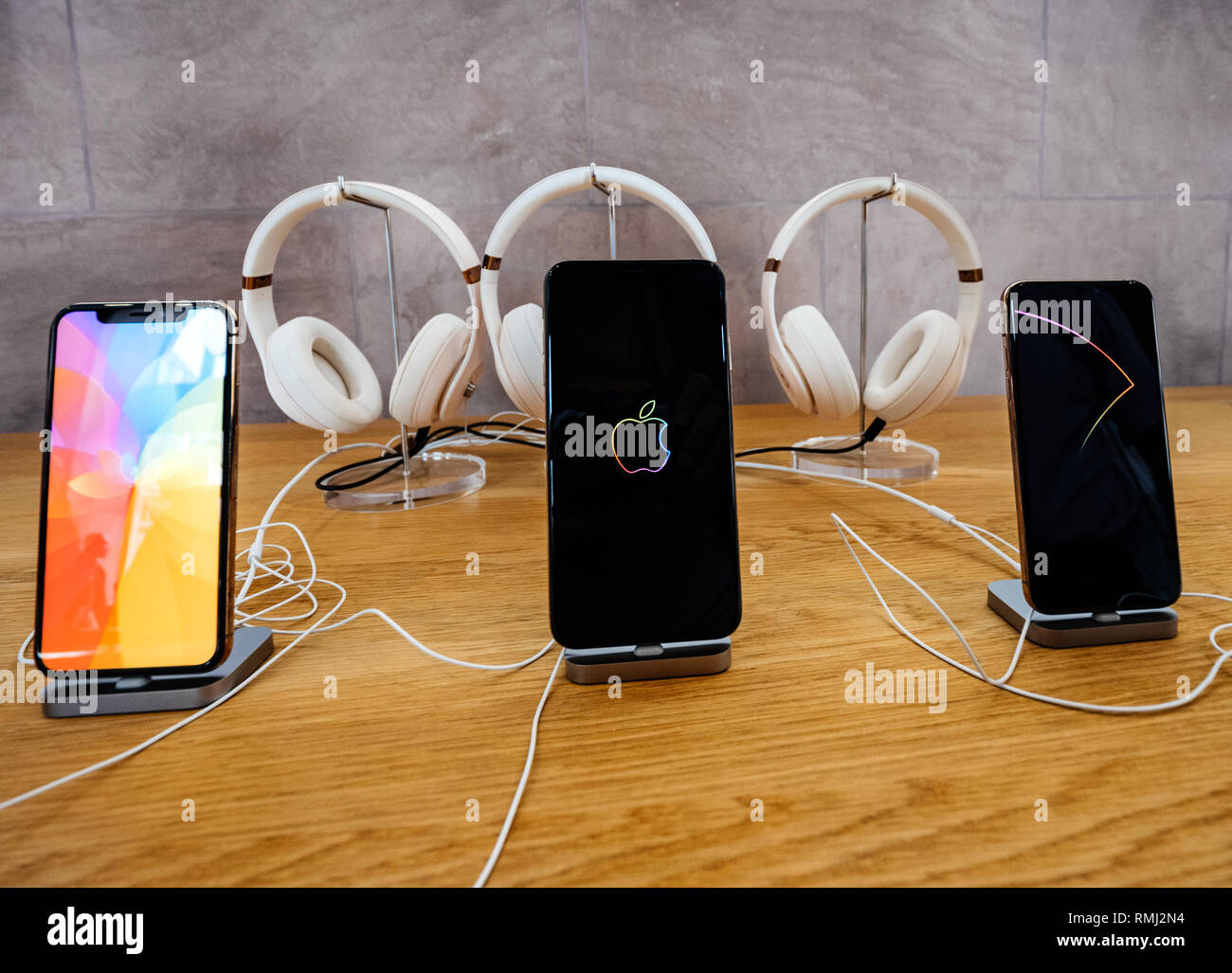 STRASBOURG, FRANCE - SEP 21, 2018: Apple Store with customers people