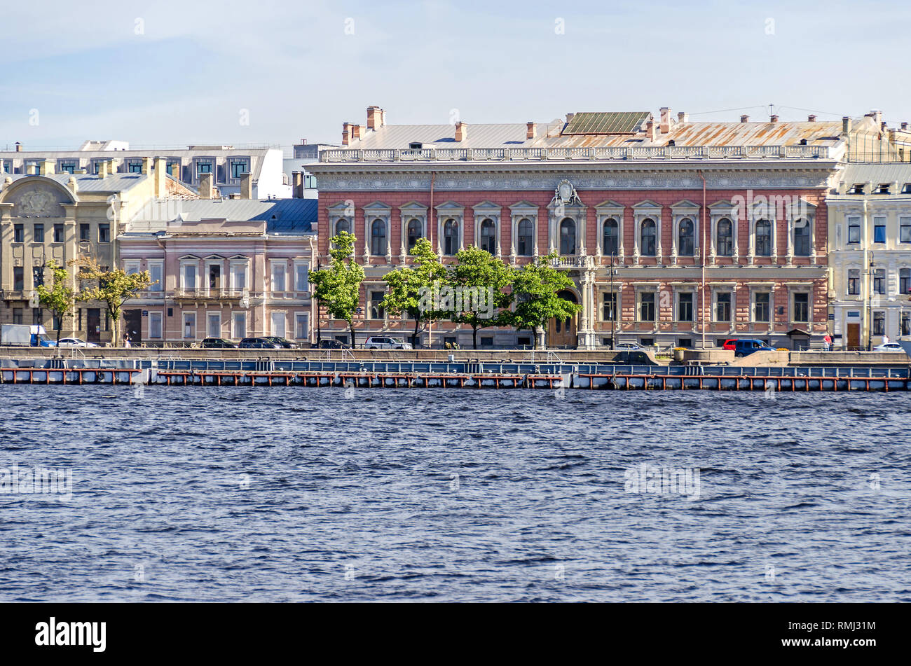 Saint Petersburg, Russia -  June 27, 2018: Neva River and Angliyskaya Embankment (English Embankment) with former palatial houses of imperial Russian  - Stock Image
