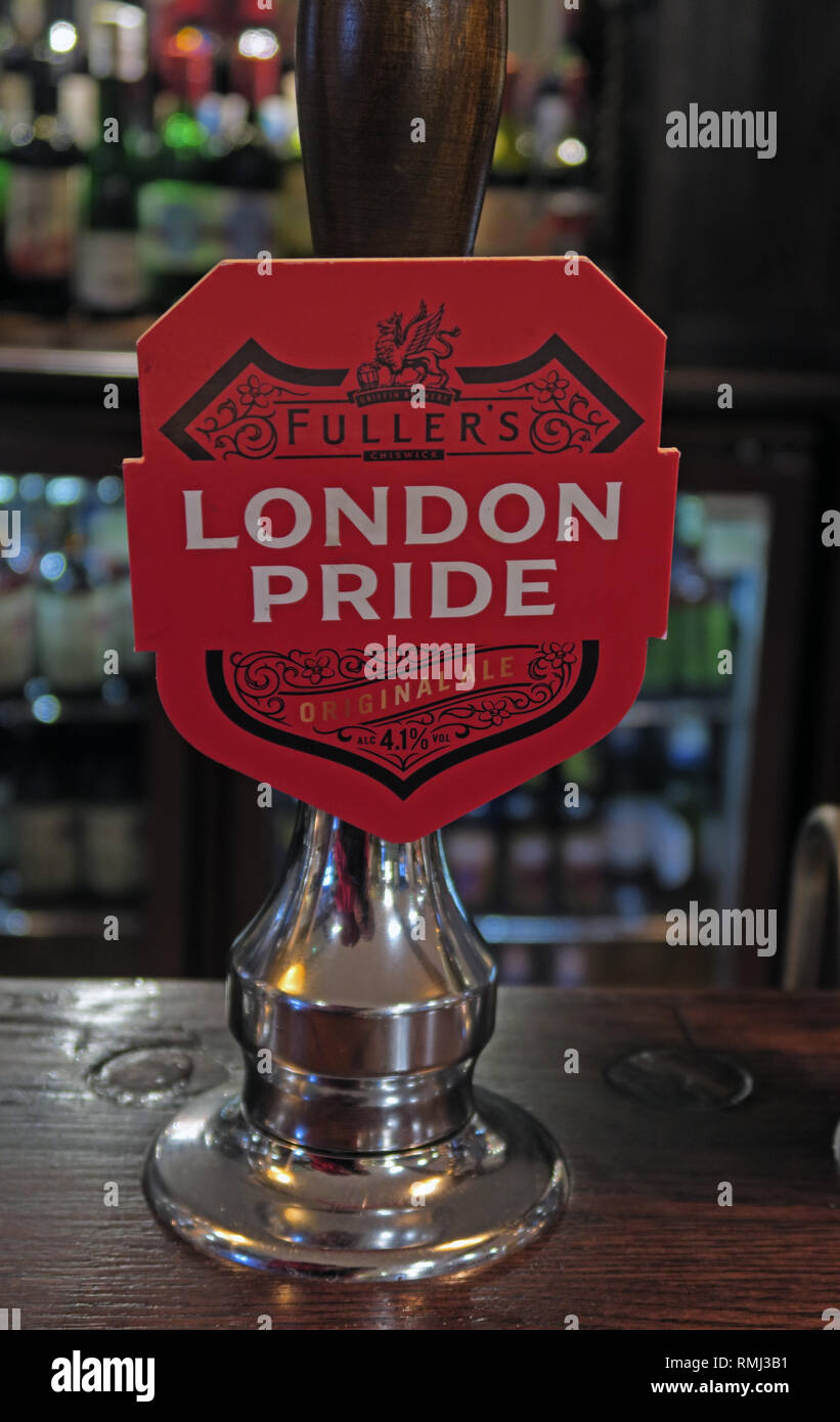 Fullers London Pride hand pump on a bar / pub, North West England, Best bitter, CAMRA ale alcoholic beverage, brewed in Chiswick, West London Stock Photo