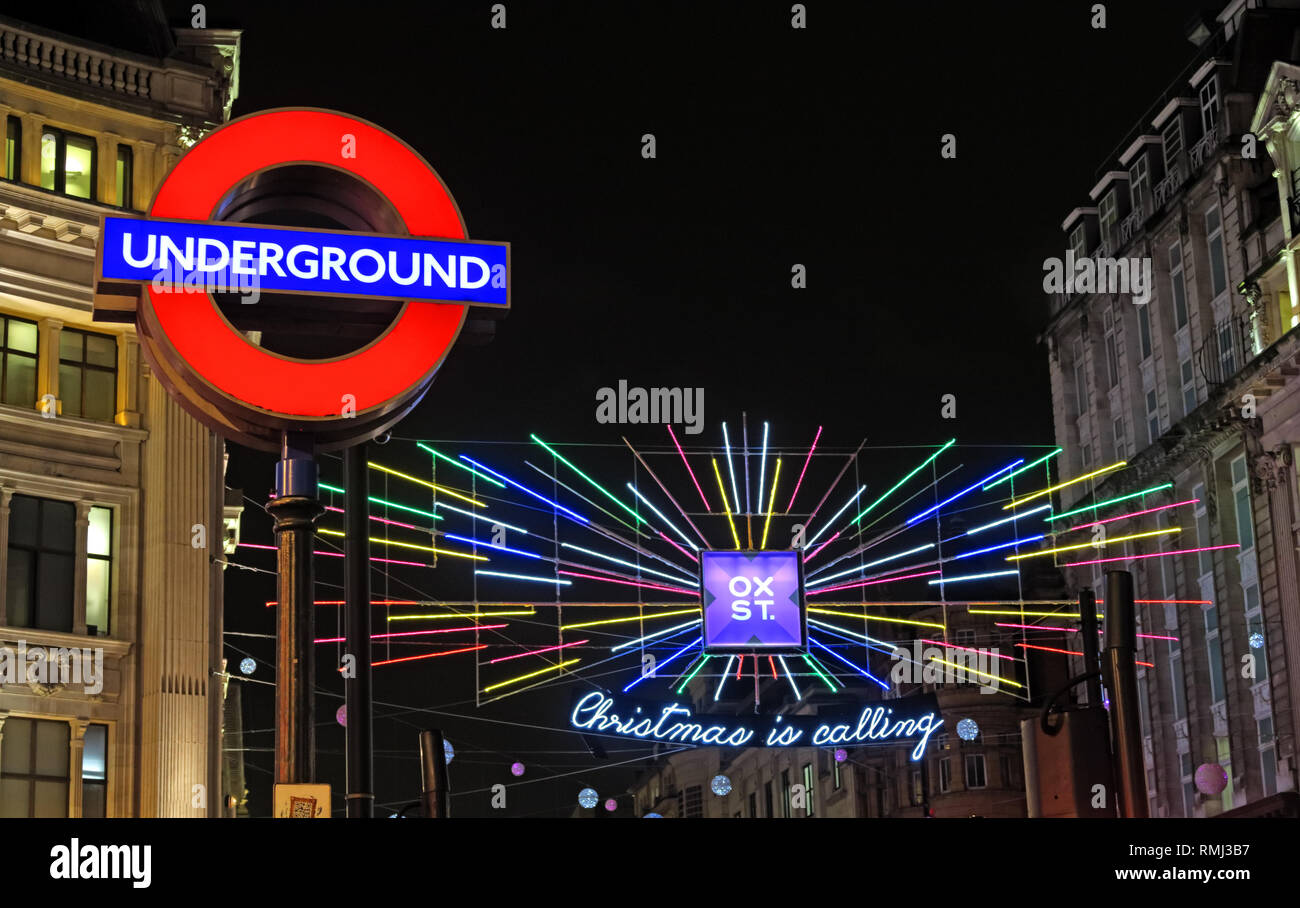 Christmas Is Calling, Oxford Street, Oxford Circus at night, Soho, City of Westminster, London, England, UK - Stock Image