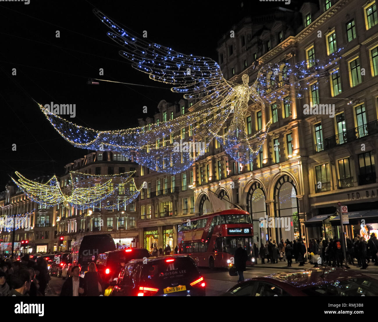 Angel and Christmas Lights, 245 Regent St, Mayfair, London, England, UK,  W1B 2EN Stock Photo