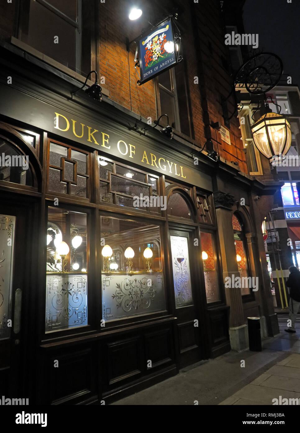 Duke of Argyll pub, 37 Brewer St, Soho, London, England, UK, W1F 0RY - Stock Image