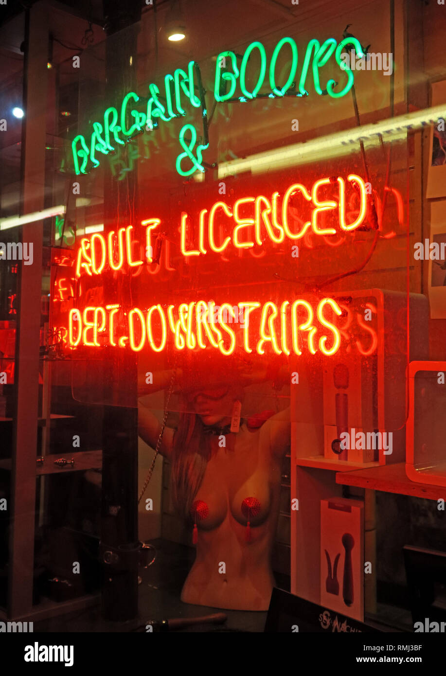Bargain Books, Adult Licenced Department, Downstairs, Neon Sign, Soho, London, England, UK Stock Photo