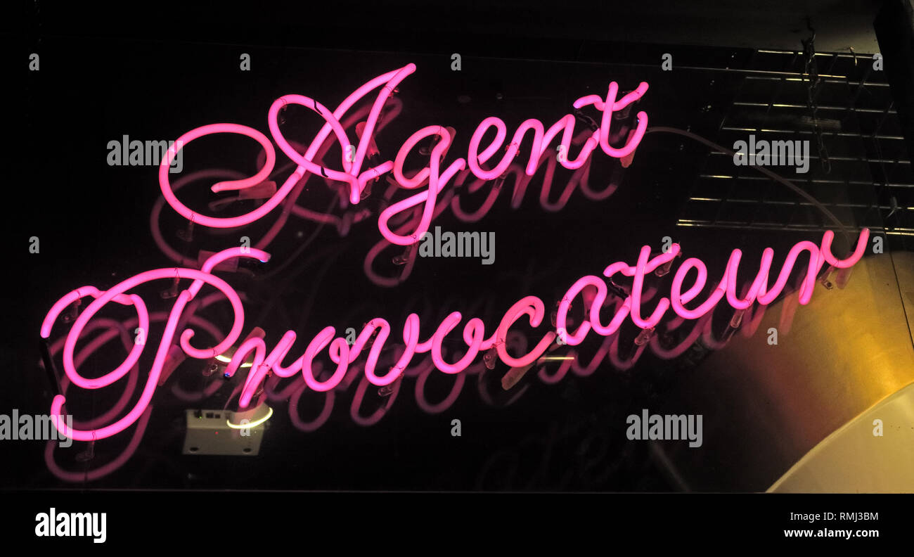Agent Provocateur shop pink neon sign, 6 Broadwick St, Soho, London , England, UK, W1F 8HL Stock Photo