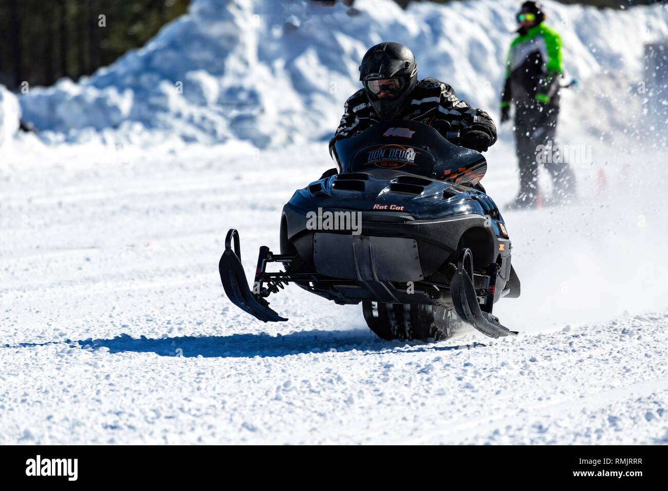 Snowmobile Racing Deep River Ontario Canada - Stock Image