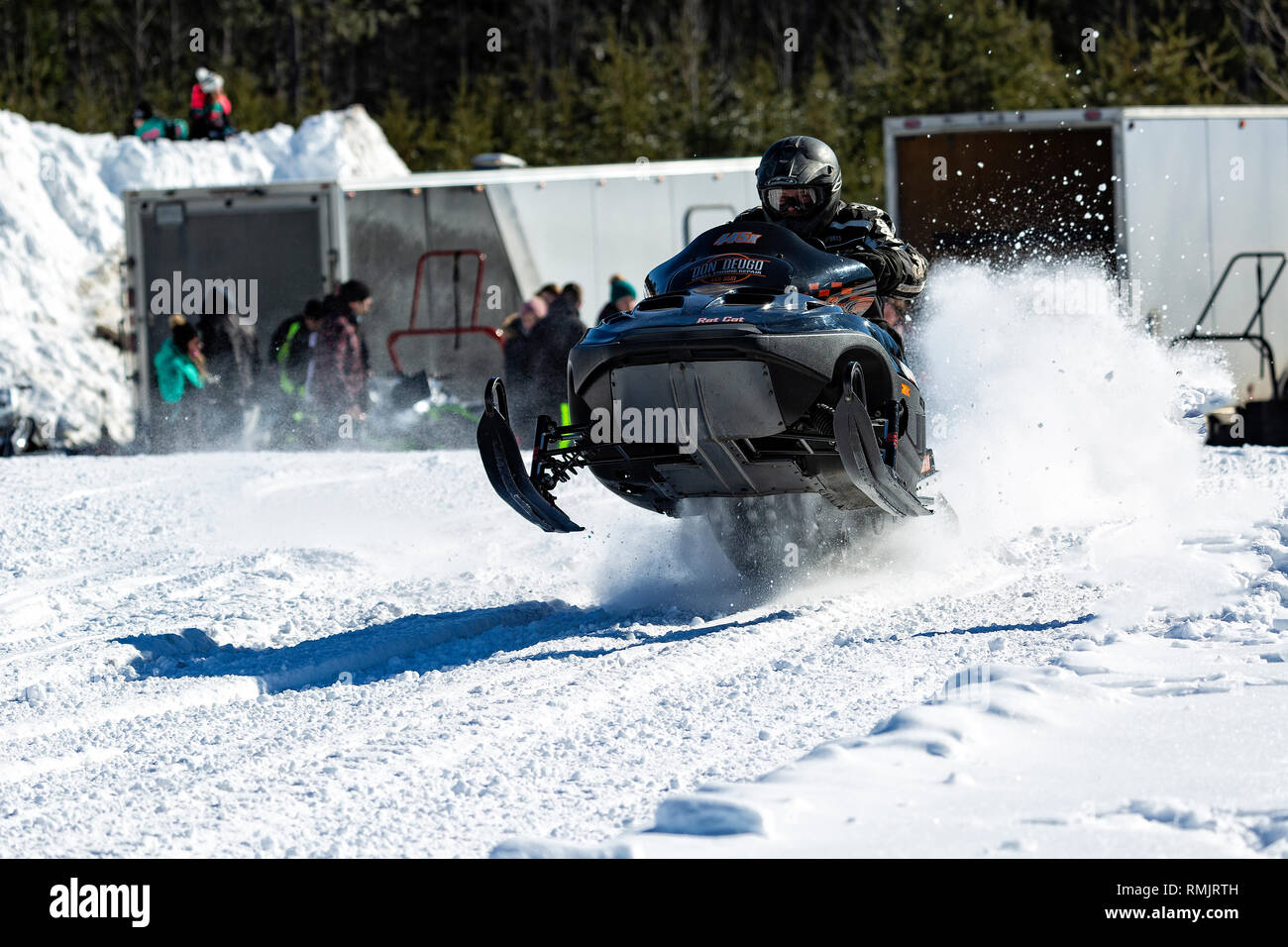 Snowmobile Racing Deep River Ontario Canada - Stock Image