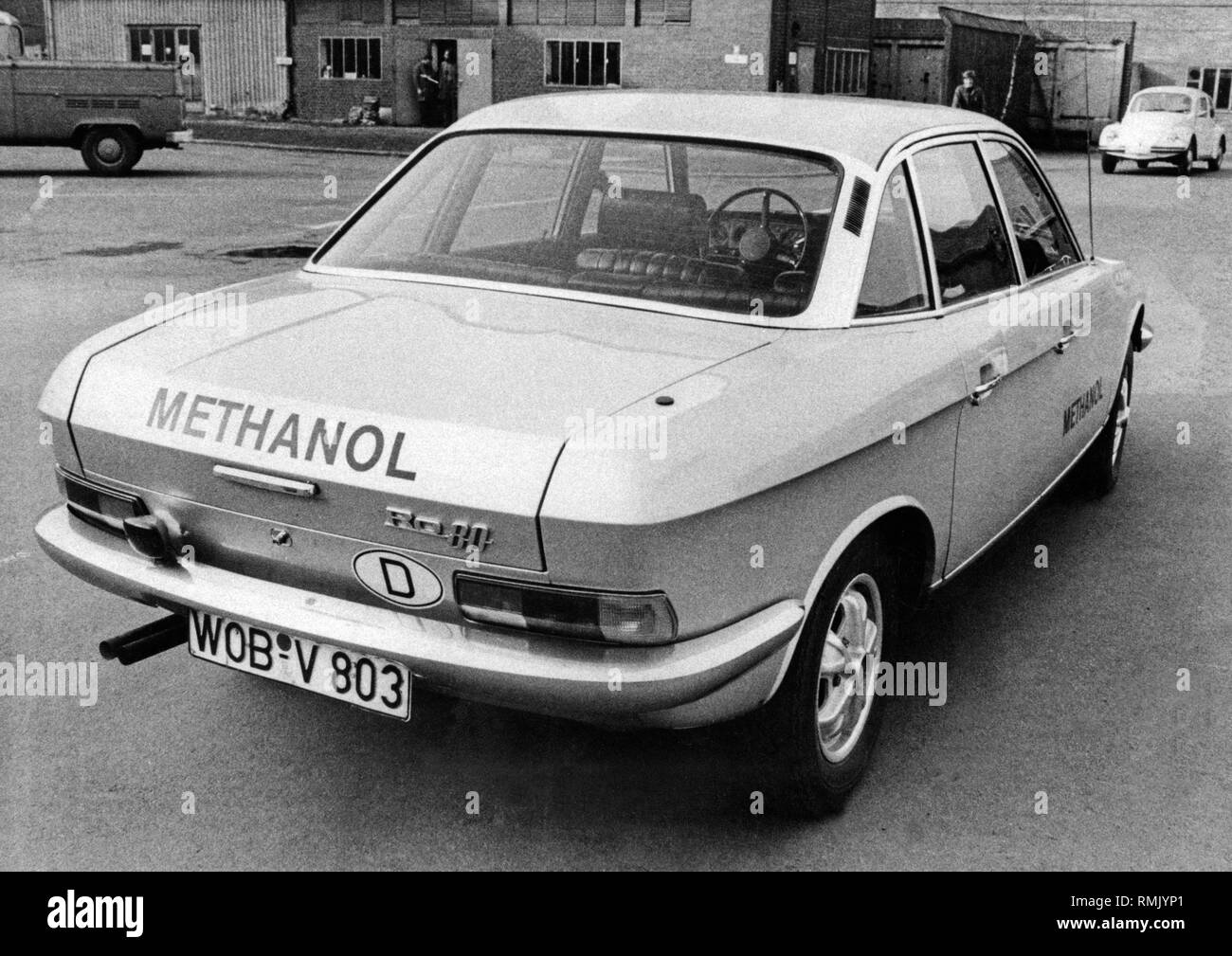 At the height of the oil crisis, many carmakers experimented with alternative drivetrains. VW conducted research with methanol drive on a NSU Ro 80. - Stock Image
