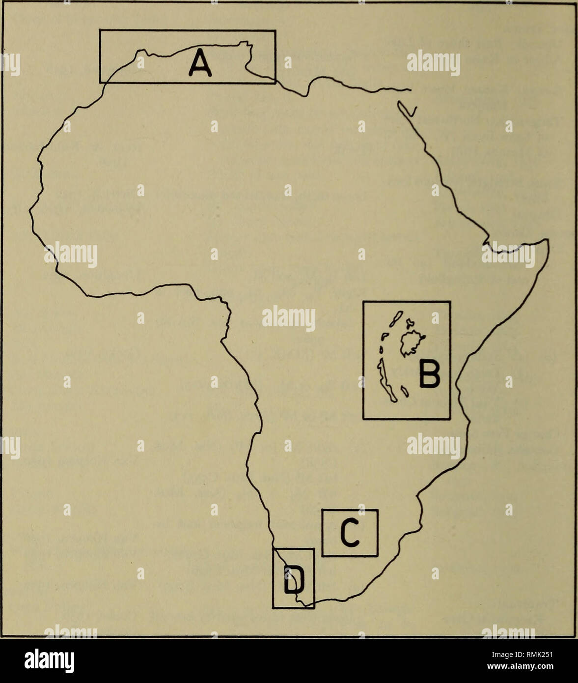 . Annals of the South African Museum. Annale van die Suid-Afrikaanse Museum. 284 ANNALS OF THE SOUTH AFRICAN MUSEUM. Fig. 3. Map of Africa indicating major areas of discovery of hipparionids. Details of areas A-G are shown in figs. 4-6, while area D is enlarged in fig. 1. Algeria—figs. 3, 4) occur between two marine horizons, namely, (1) a Burdi- galian one, characterized by its mollusc and echinid fauna and (2) an Upper Miocene Lithotamnium limestone. On this stratigraphical basis, the Hipparion horizon has been dated as Tortonian, i.e. Upper Vindobonian (Late Miocene) immediately antedating  - Stock Image