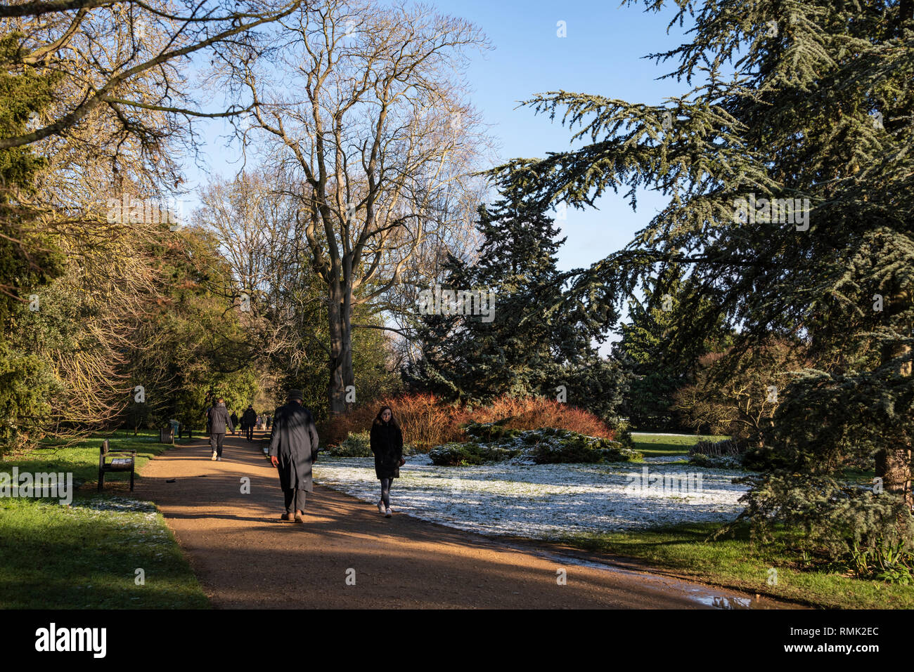 People walking in the park, Oxford University Parks in Winter - Stock Image