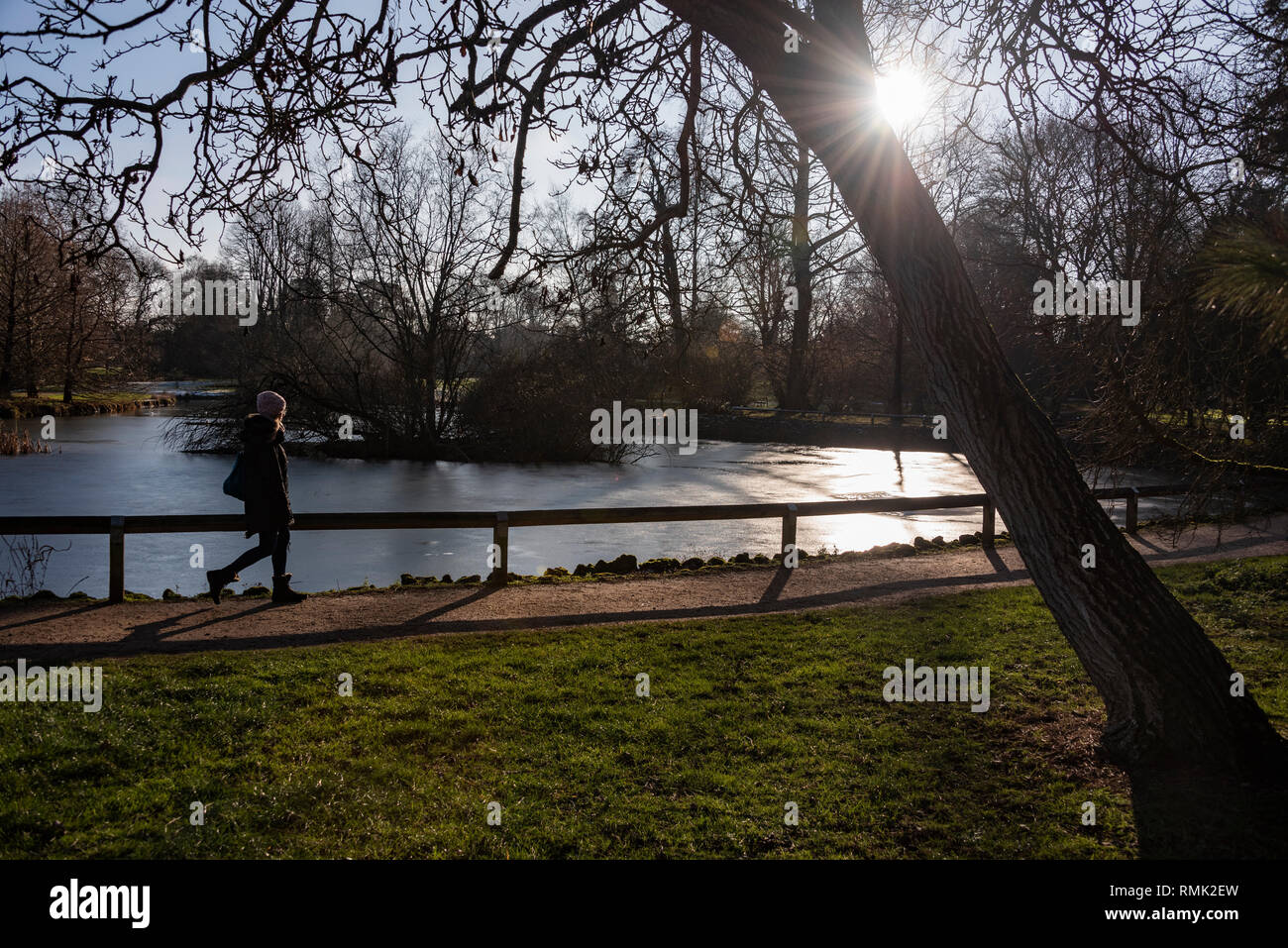 A student walks round Cox's Pond, Oxford University Parks in Winter - Stock Image