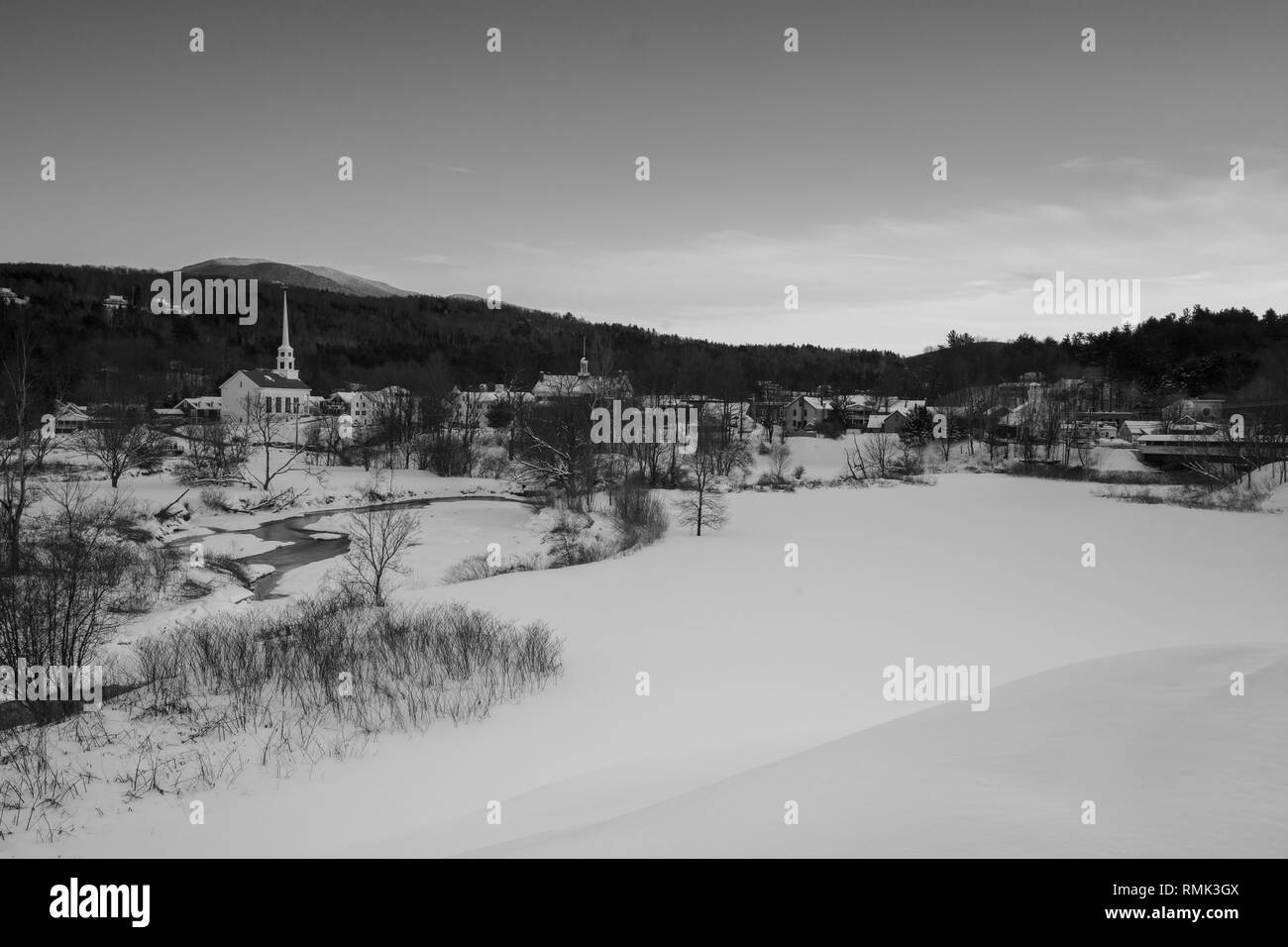 Wide angle of downtown stowe vermont stock image