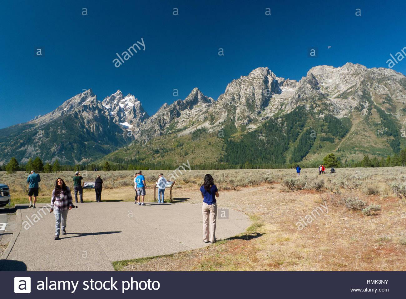 Grand Teton mountain peak seen from the Mount Moran Turnout, Grand Teton National Park, Teton County, Wyoming, USA - Stock Image