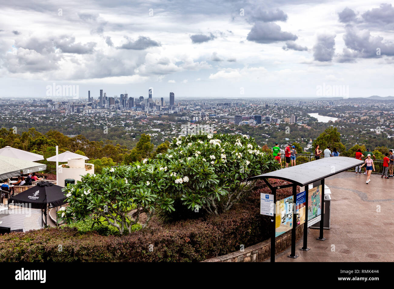 BRISBANE, Australia - January 9 2019: Tourists viewing Brisbane city skyline from Mount Coot-tha lookout - Stock Image