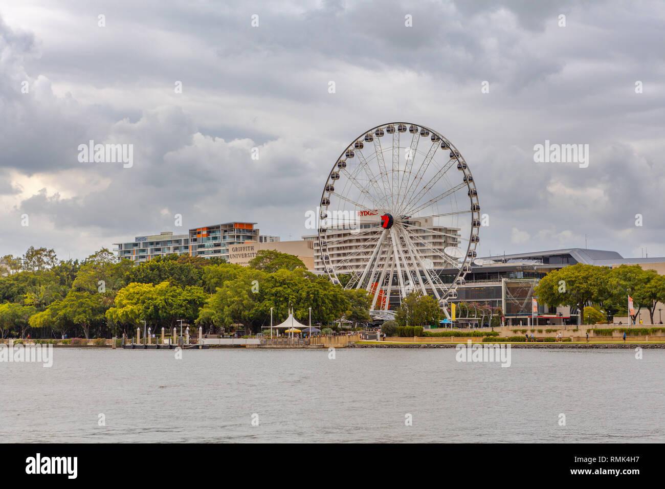 BRISBANE, Australia - January 9 2019: The Wheel of Brisbane on the South Bank - Stock Image