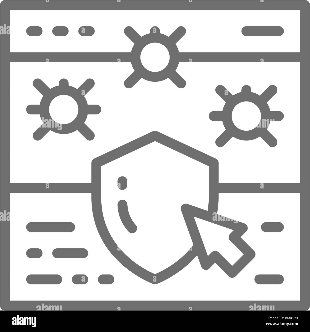 Website with shield, browser antivirus, cyber protection line icon. - Stock Image