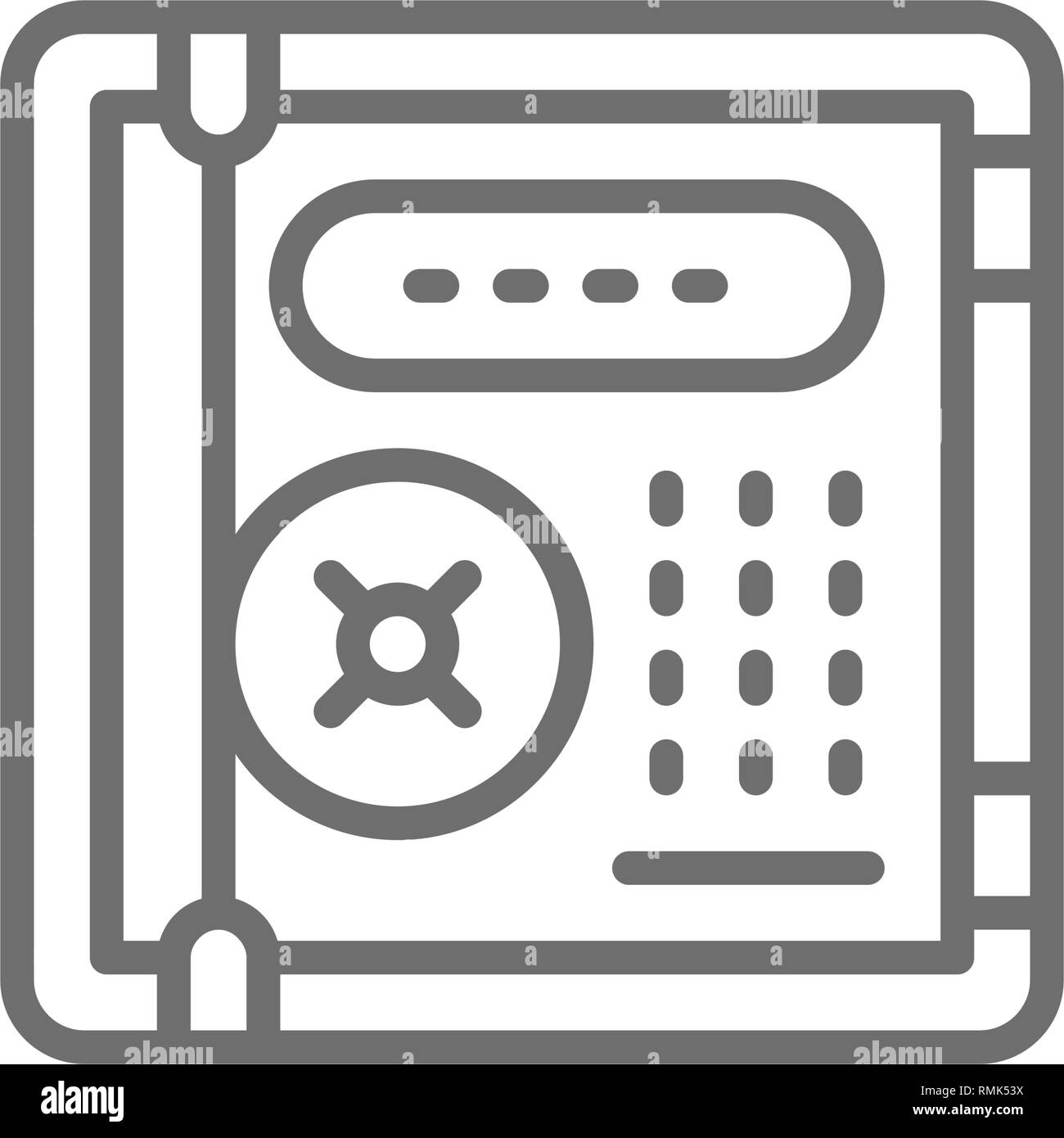 Electronic safe, personal protection, cryptography line icon. - Stock Image